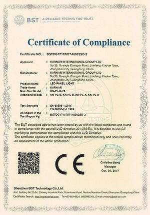 Certifikat KARNAR INTERNATIONAL GROUP LTD