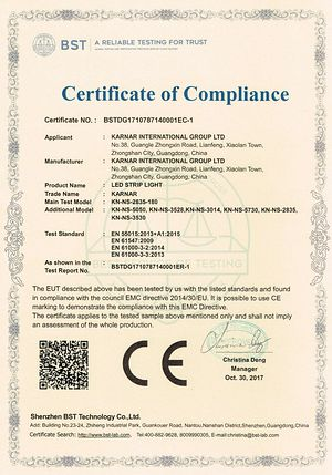 certifikát KARNAR INTERNATIONAL GROUP LTD